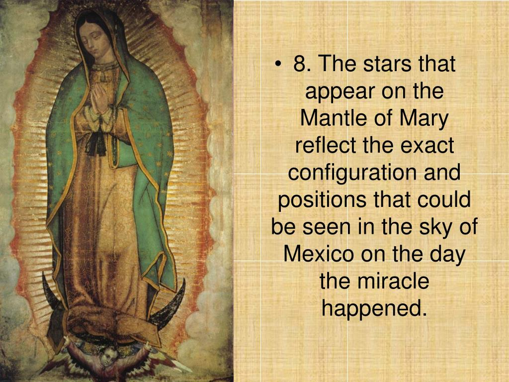8. The stars that appear on the Mantle of Mary reflect the exact configuration and positions that could be seen in the sky of Mexico on the day the miracle happened.
