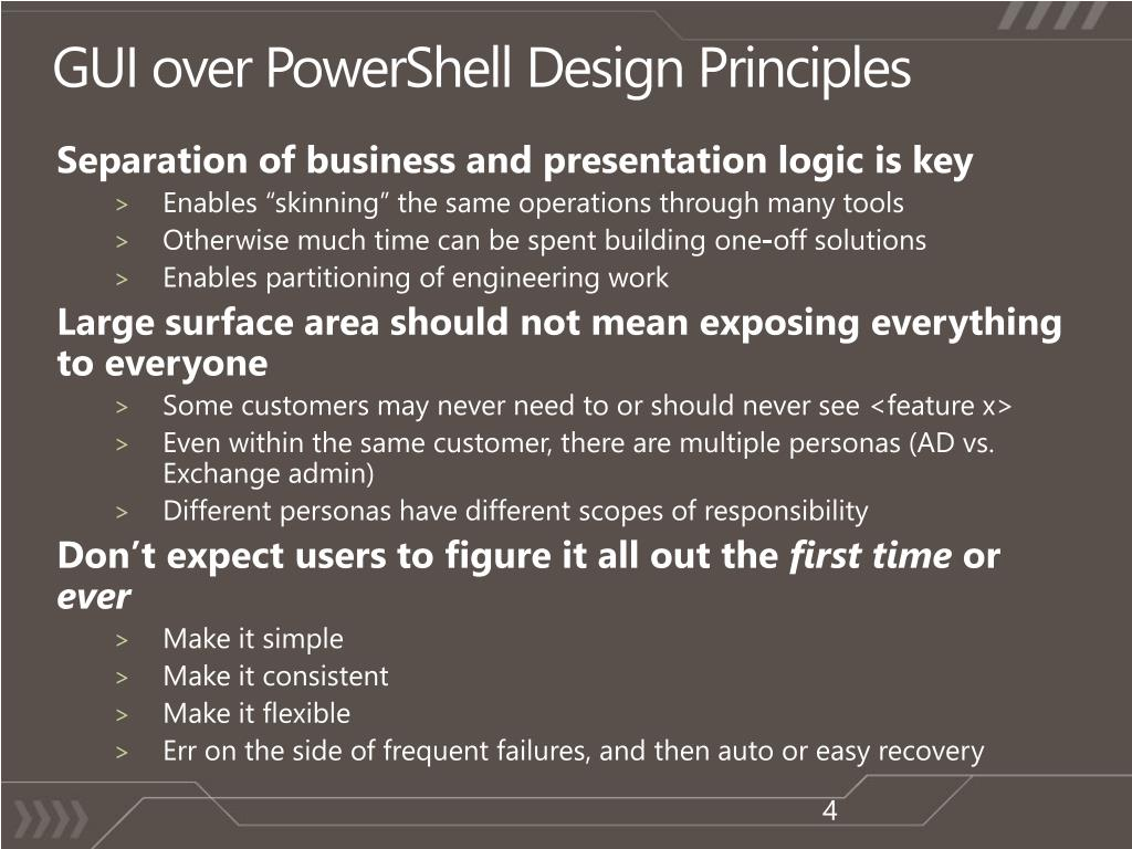GUI over PowerShell Design Principles