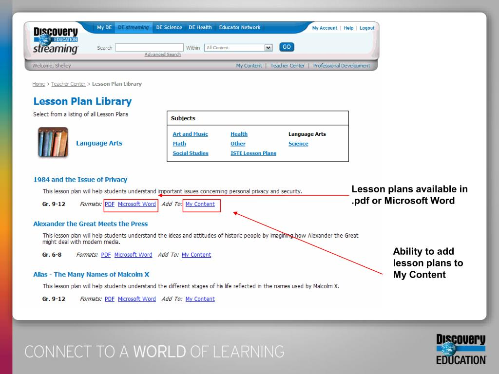 Lesson plans available in