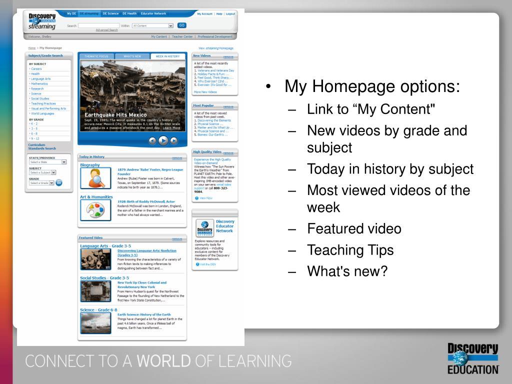 My Homepage options: