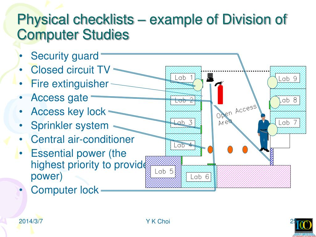 Physical checklists – example of Division of Computer Studies