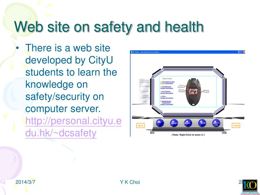 Web site on safety and health