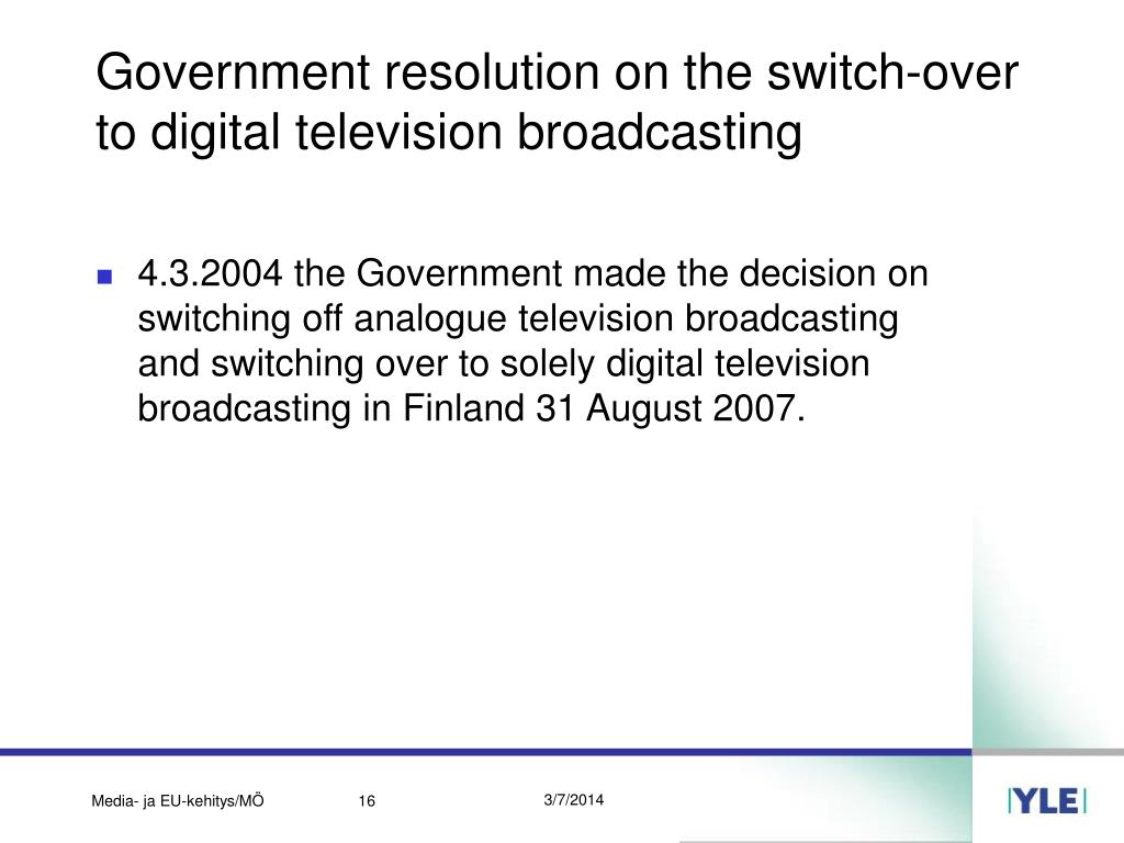 Government resolution on the switch-over