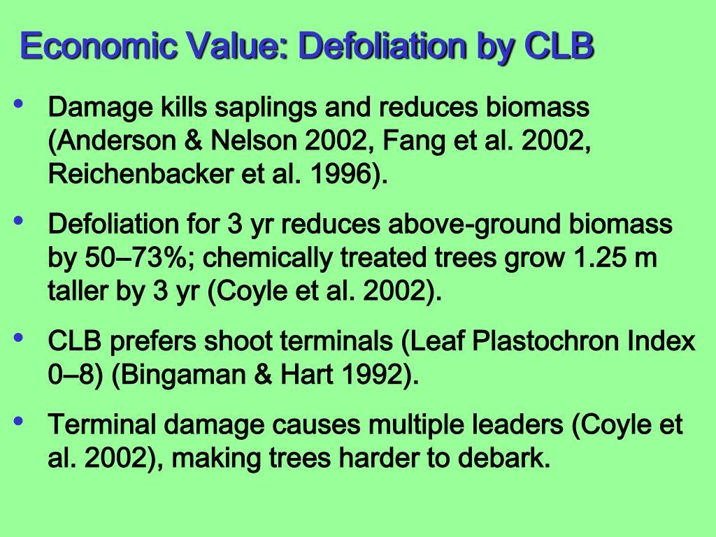Economic Value: Defoliation by CLB