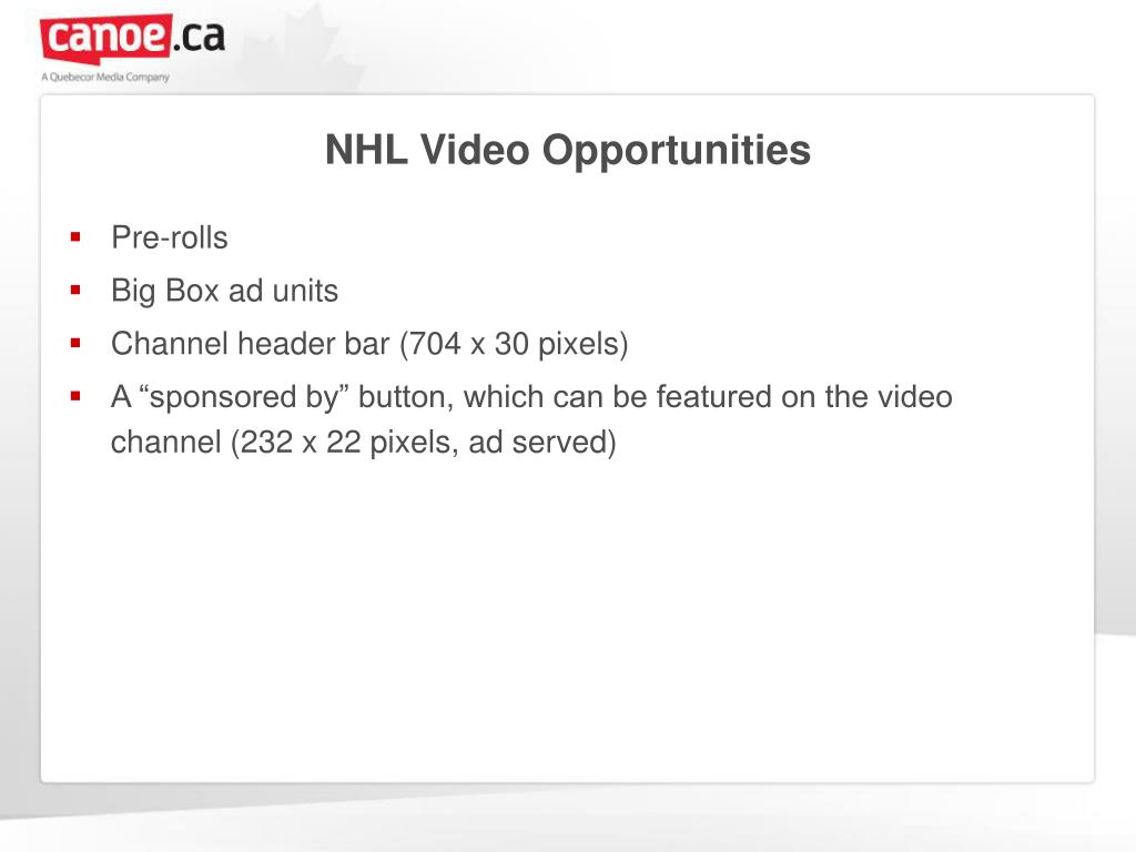 NHL Video Opportunities