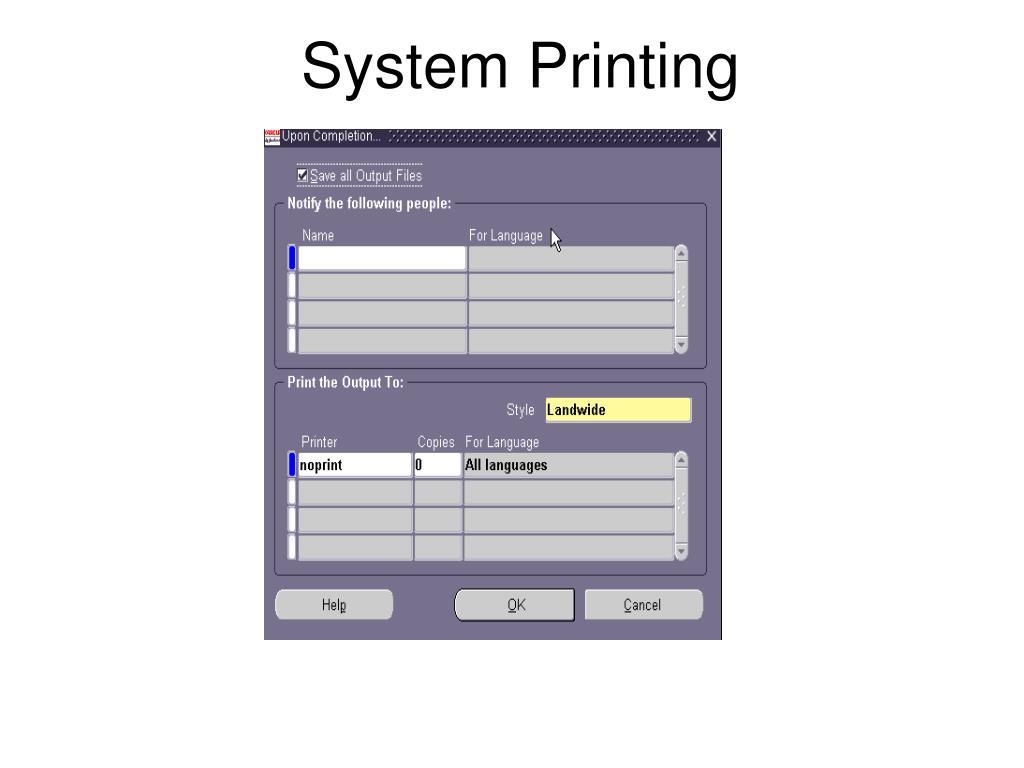 System Printing