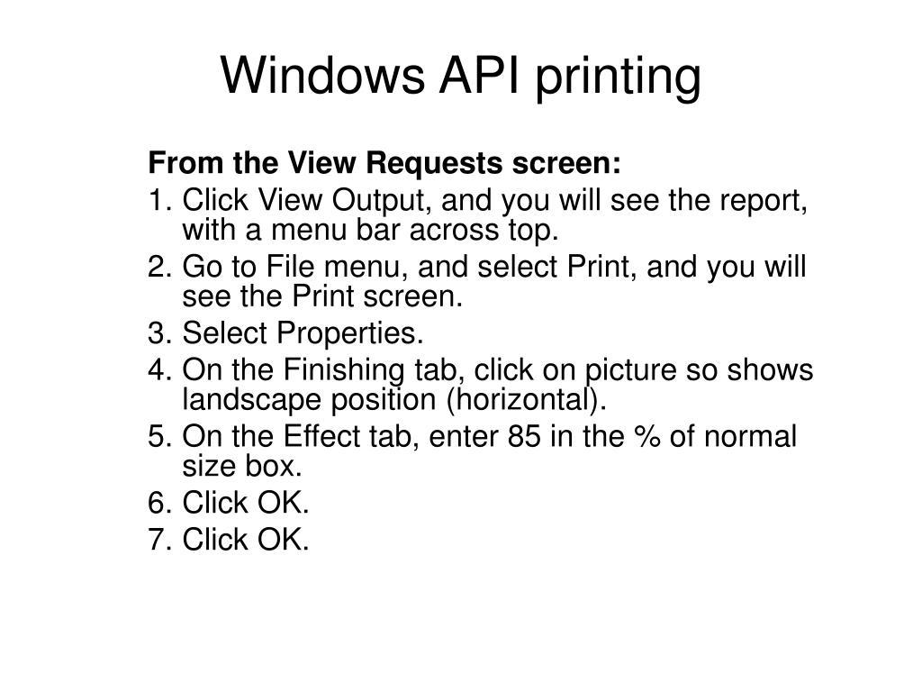 Windows API printing