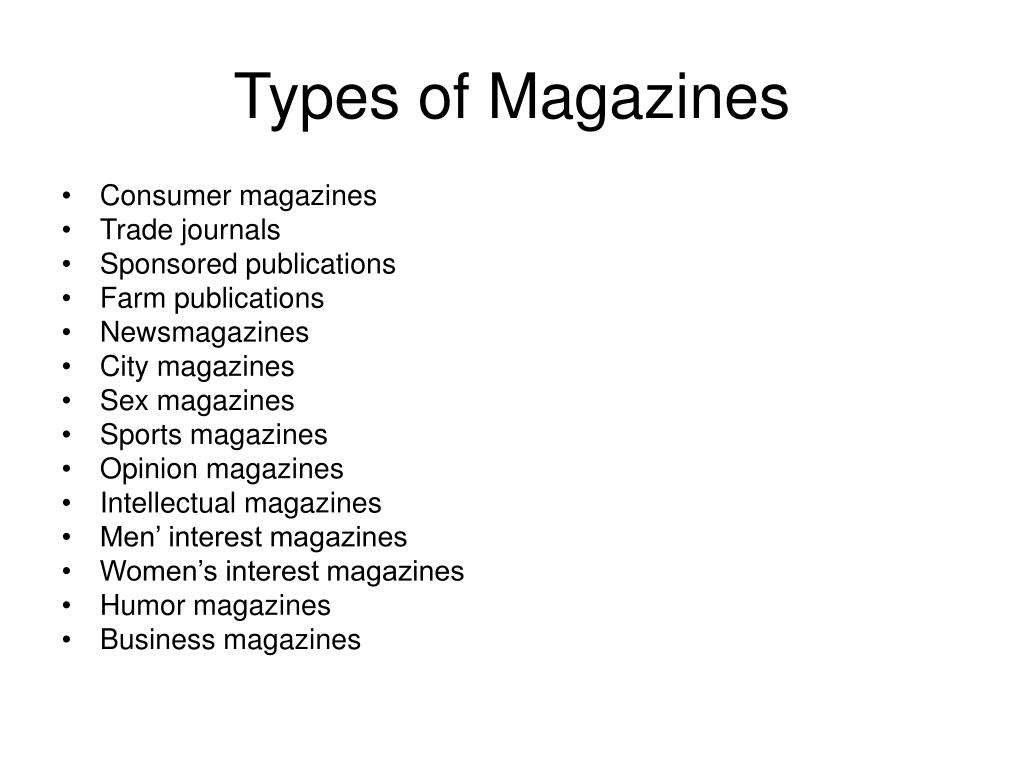 Types of Magazines