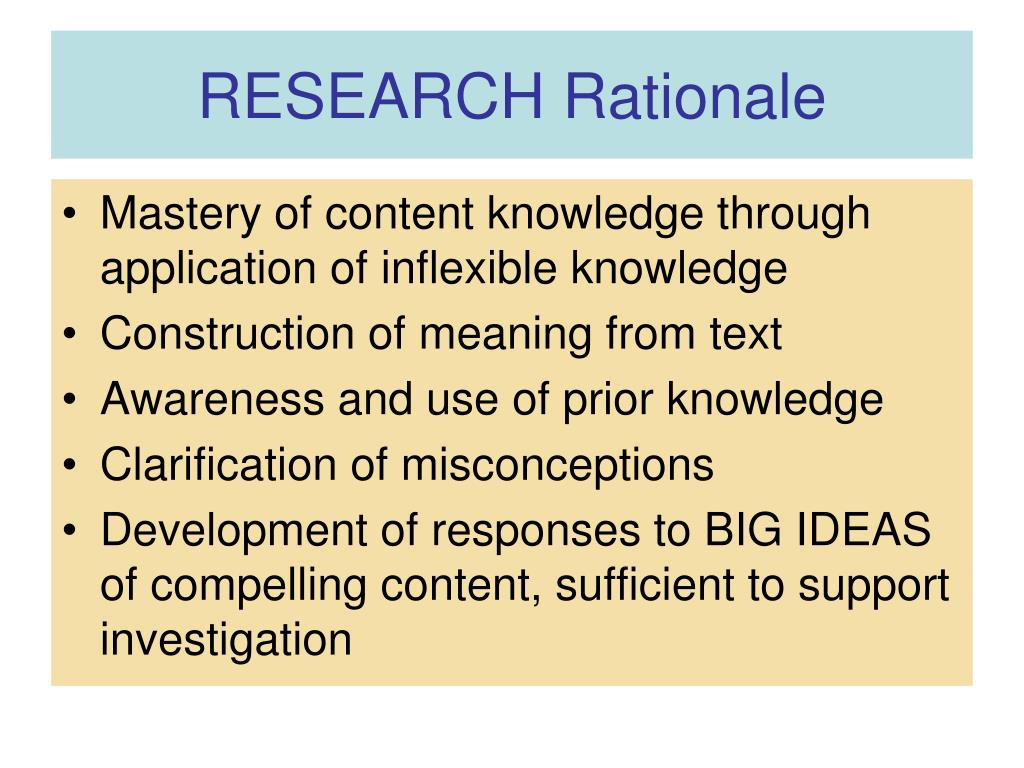 RESEARCH Rationale