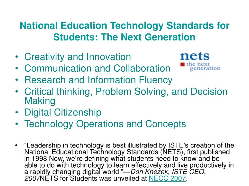 National Education Technology Standards for Students: The Next Generation