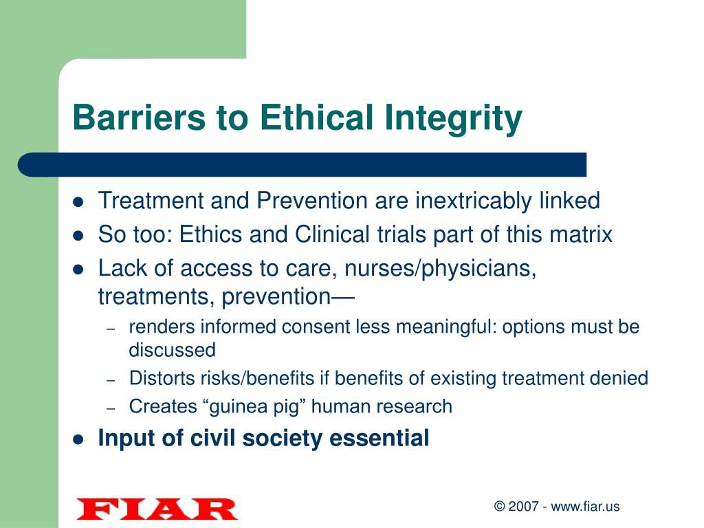 Barriers to Ethical Integrity