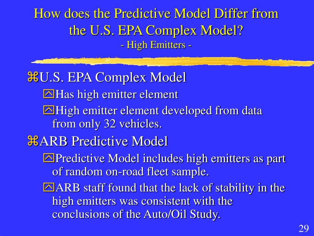 How does the Predictive Model Differ from the U.S. EPA Complex Model?