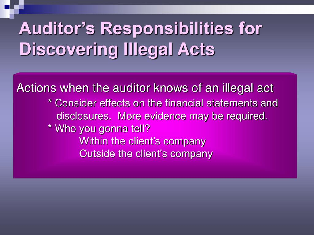 Auditor's Responsibilities for Discovering Illegal Acts