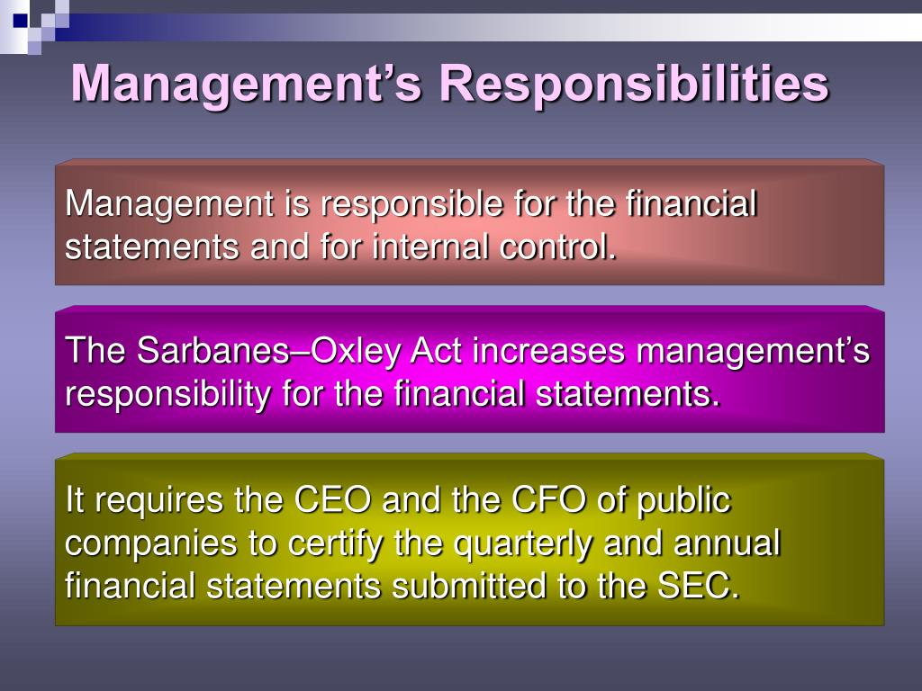 Management's Responsibilities