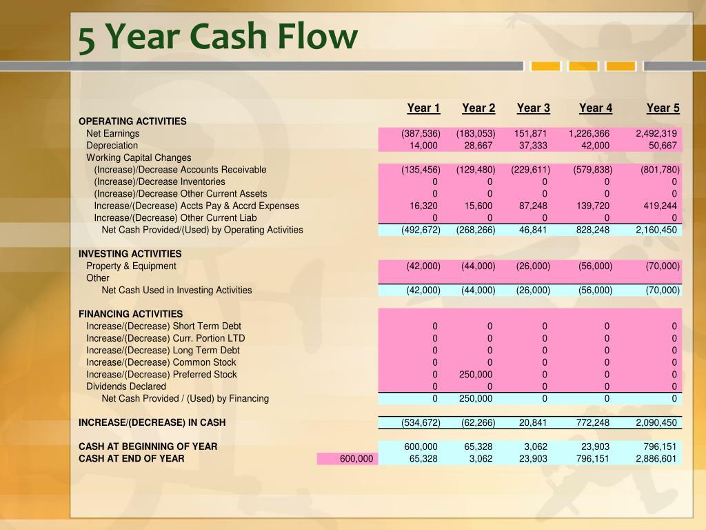 5 Year Cash Flow