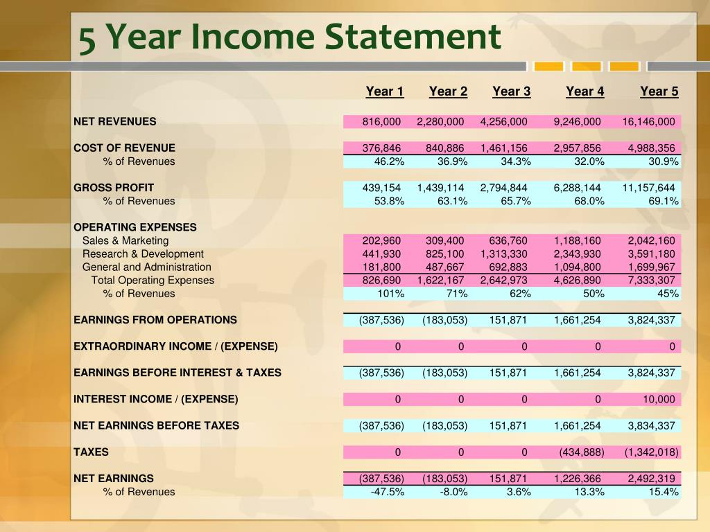 5 Year Income Statement