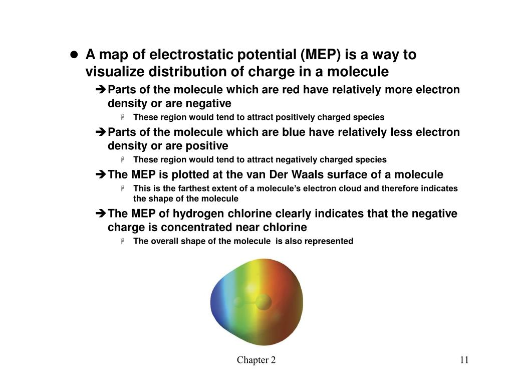 A map of electrostatic potential (MEP) is a way to visualize distribution of charge in a molecule