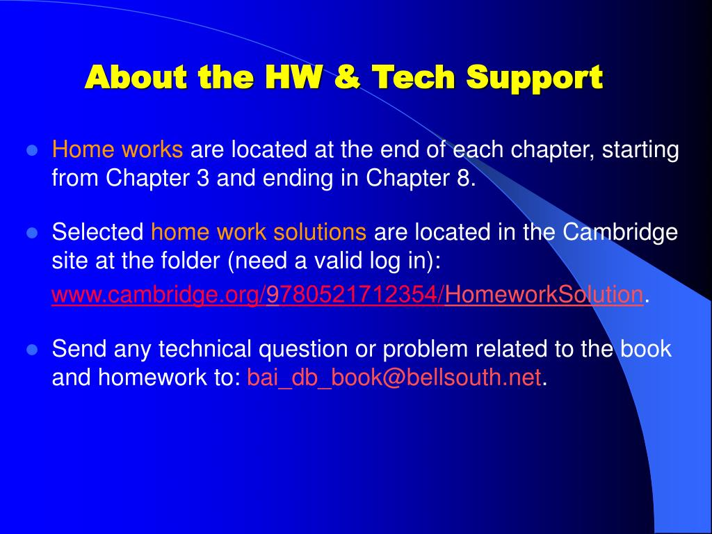 About the HW & Tech Support