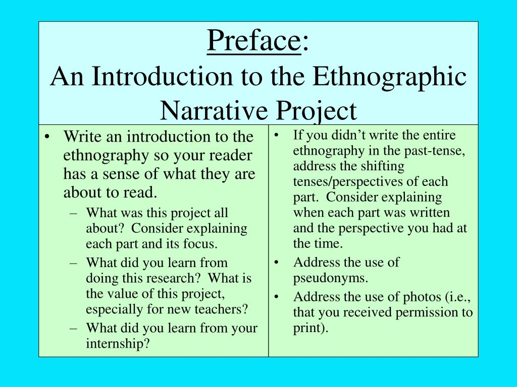 Write an introduction to the ethnography so your reader has a sense of what they are about to read.