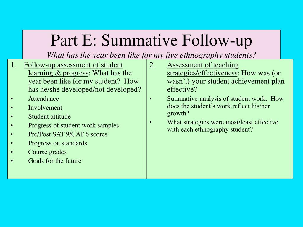 Part E: Summative Follow-up