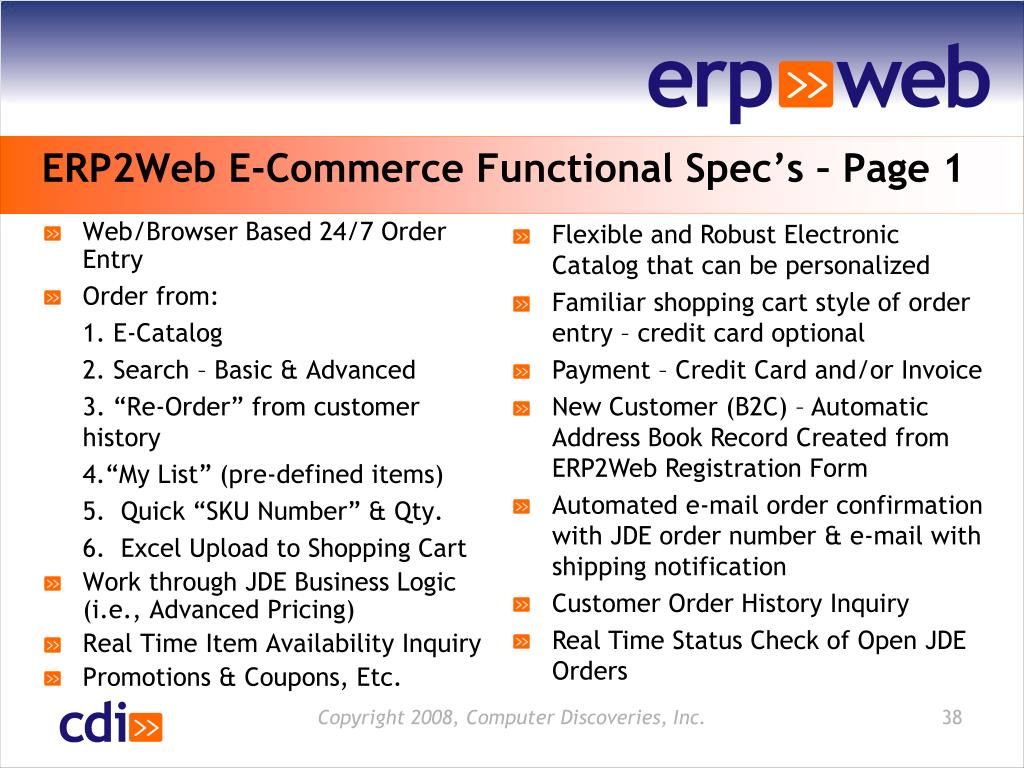 ERP2Web E-Commerce Functional Spec's – Page 1