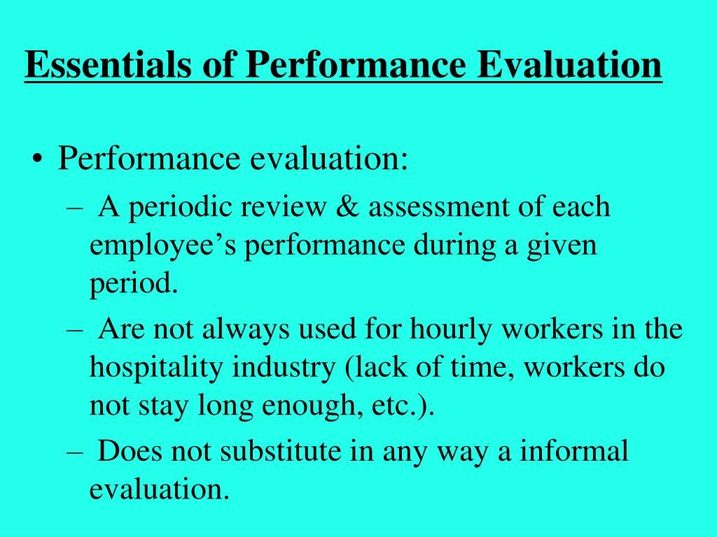 Essentials of Performance Evaluation