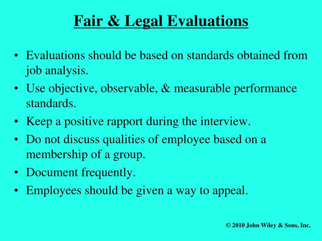 Fair & Legal Evaluations