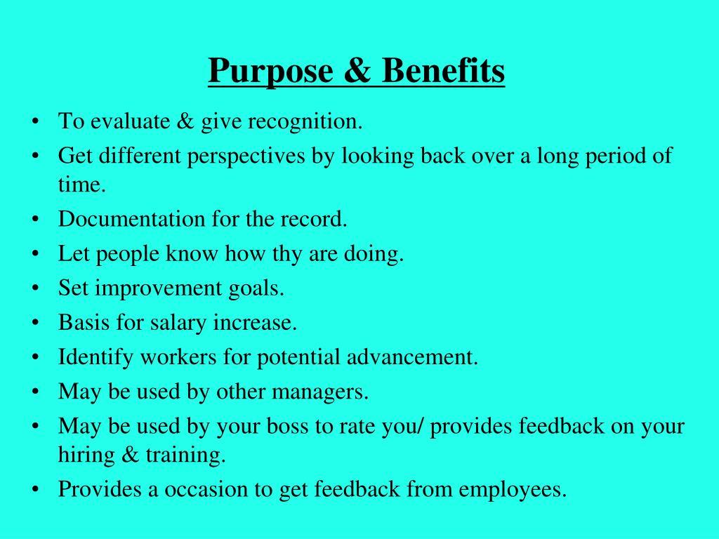 Purpose & Benefits