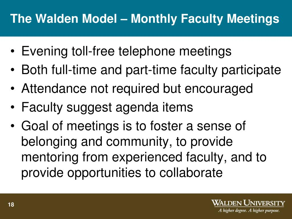 The Walden Model – Monthly Faculty Meetings