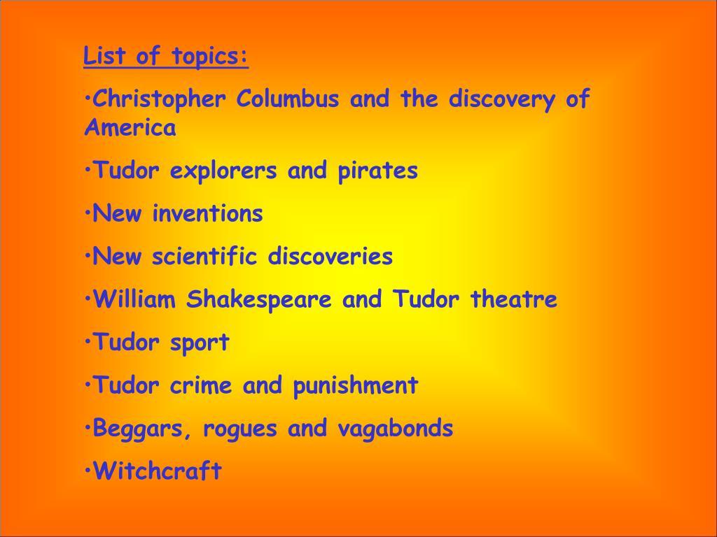 List of topics: