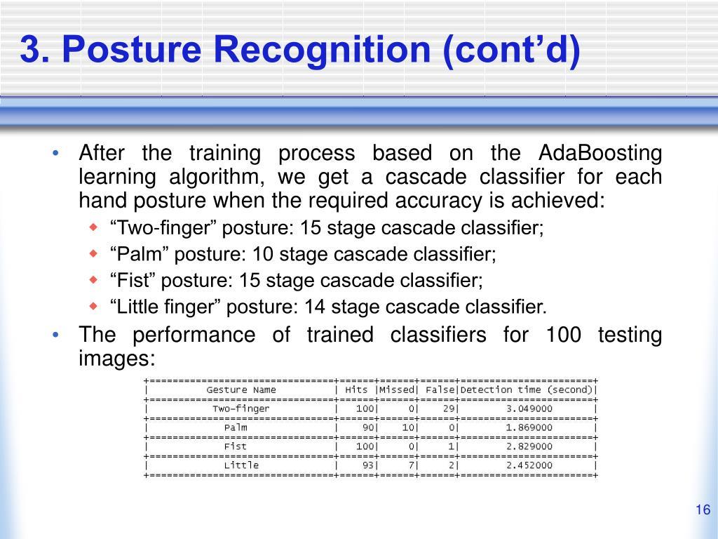 3. Posture Recognition (cont'd)