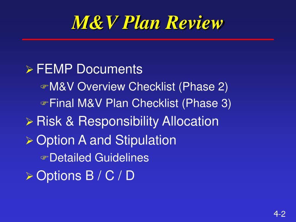 M&V Plan Review