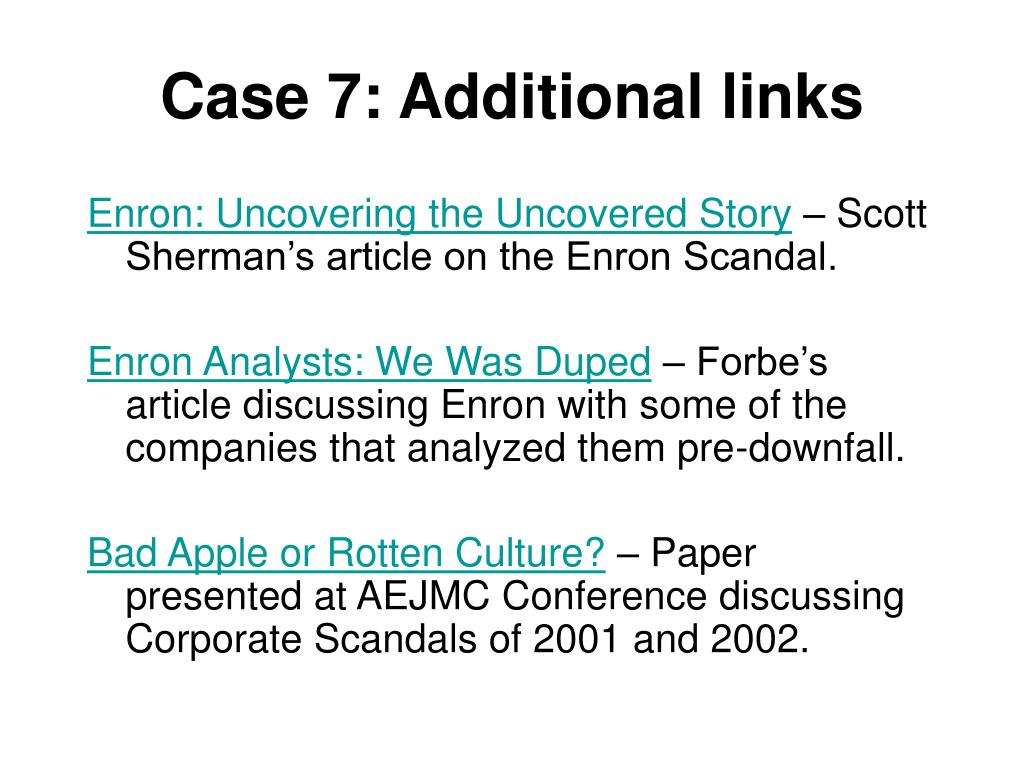 Case 7: Additional links