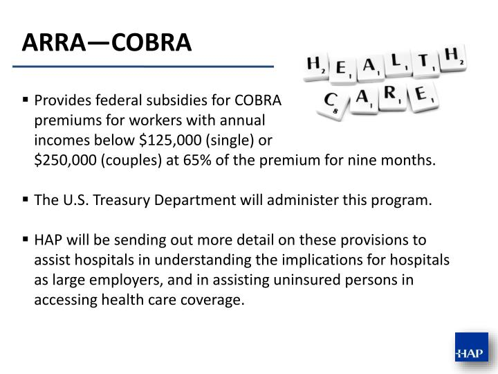 Provides federal subsidies for COBRA