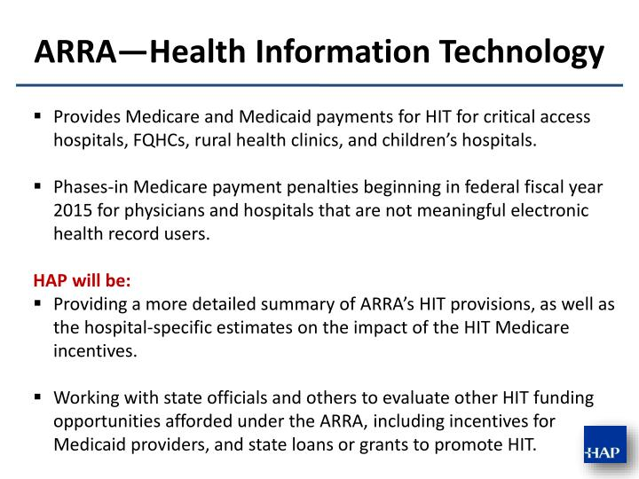 Provides Medicare and Medicaid payments for HIT for critical access hospitals, FQHCs, rural health clinics, and children's hospitals.