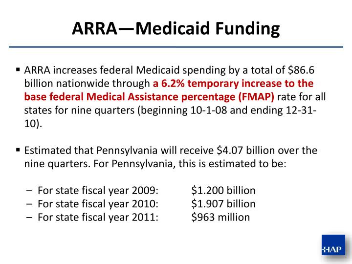 ARRA increases federal Medicaid spending by a total of $86.6 billion nationwide through