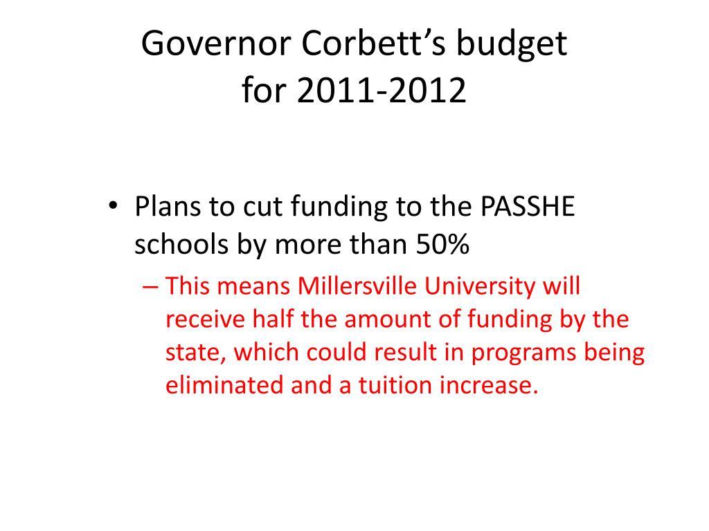 Governor Corbett's budget