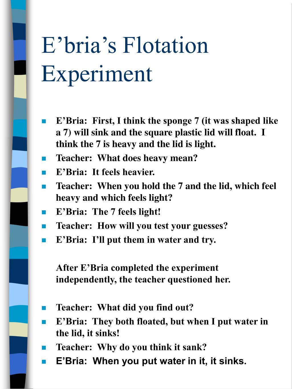 E'bria's Flotation Experiment