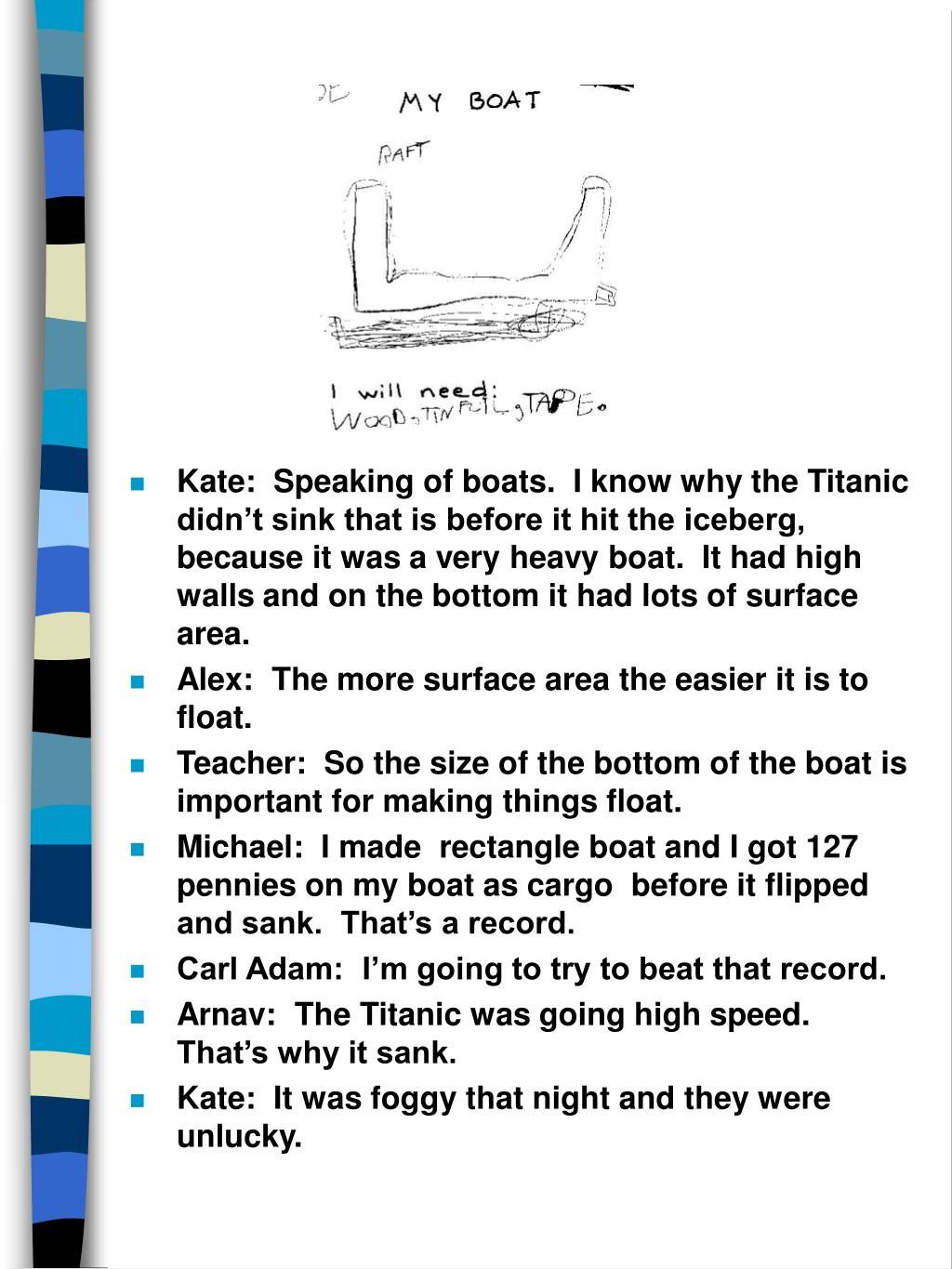 Kate:  Speaking of boats.  I know why the Titanic didn't sink that is before it hit the iceberg, because it was a very heavy boat.  It had high walls and on the bottom it had lots of surface area.
