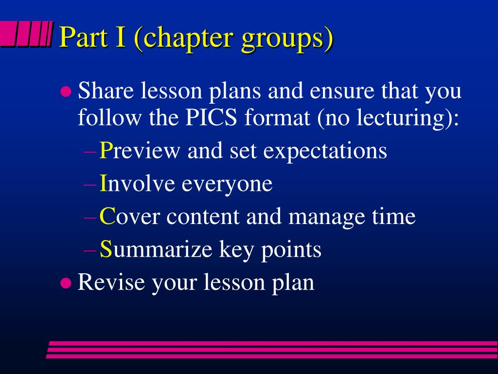 Part I (chapter groups)