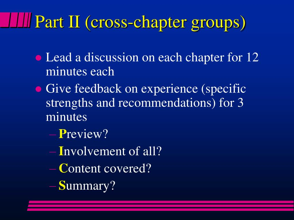 Part II (cross-chapter groups)