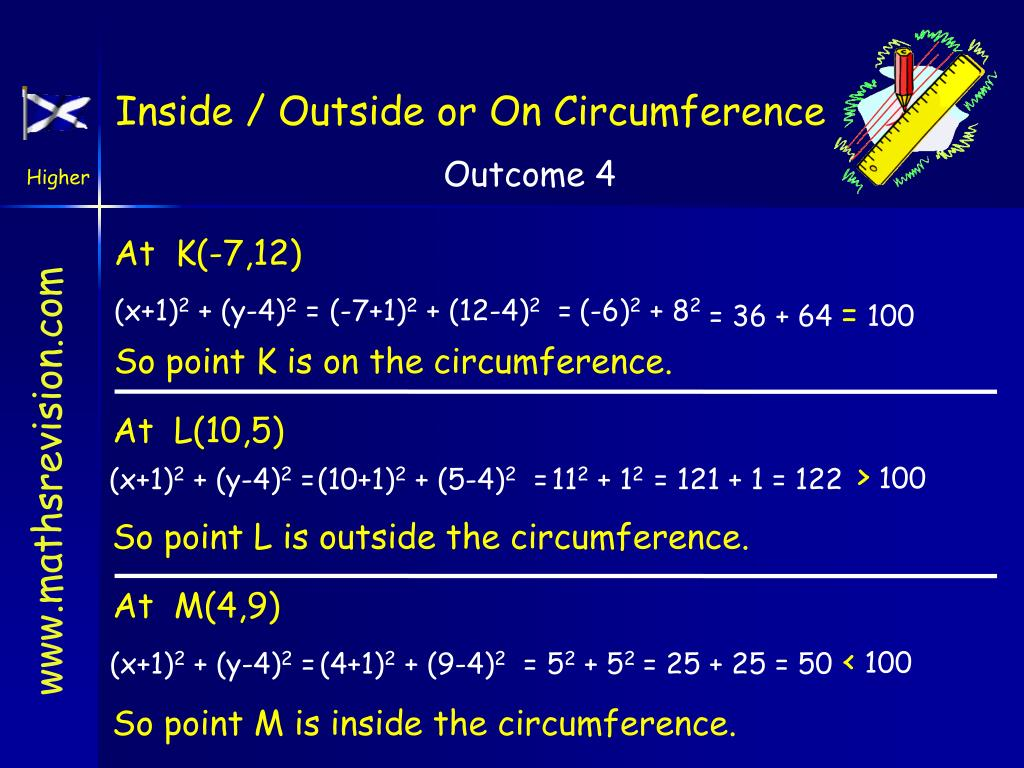Inside / Outside or On Circumference