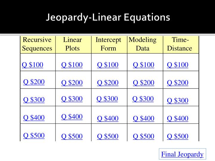 Jeopardy linear equations