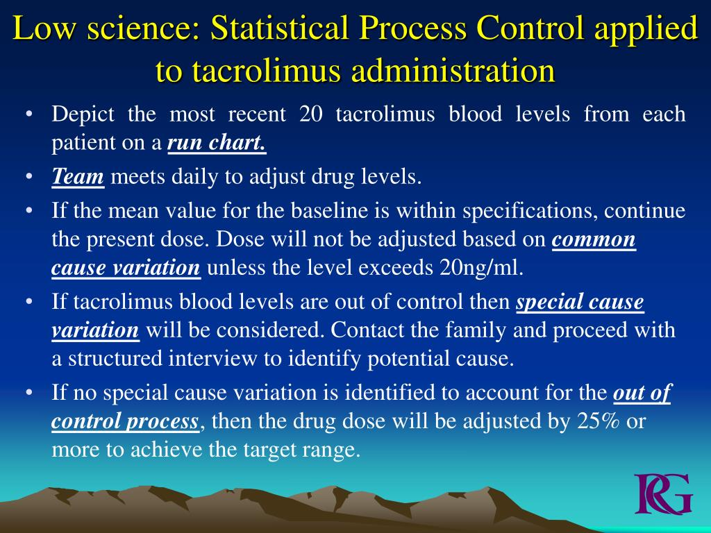 Low science: Statistical Process Control applied to tacrolimus administration