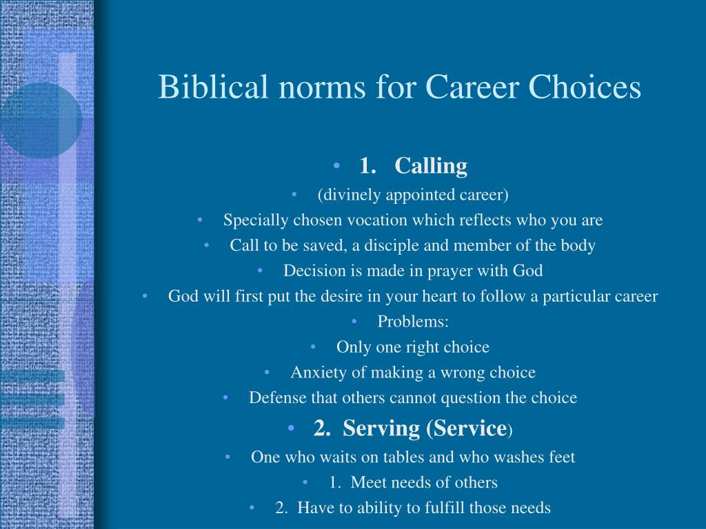 Biblical norms for Career Choices