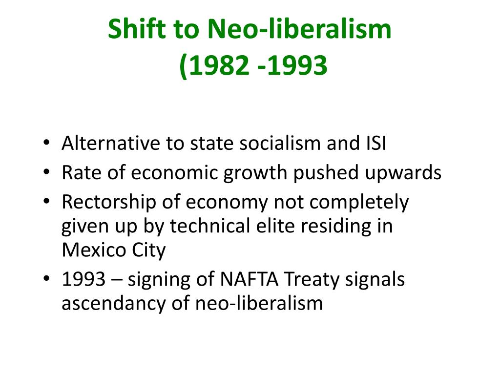 Shift to Neo-liberalism
