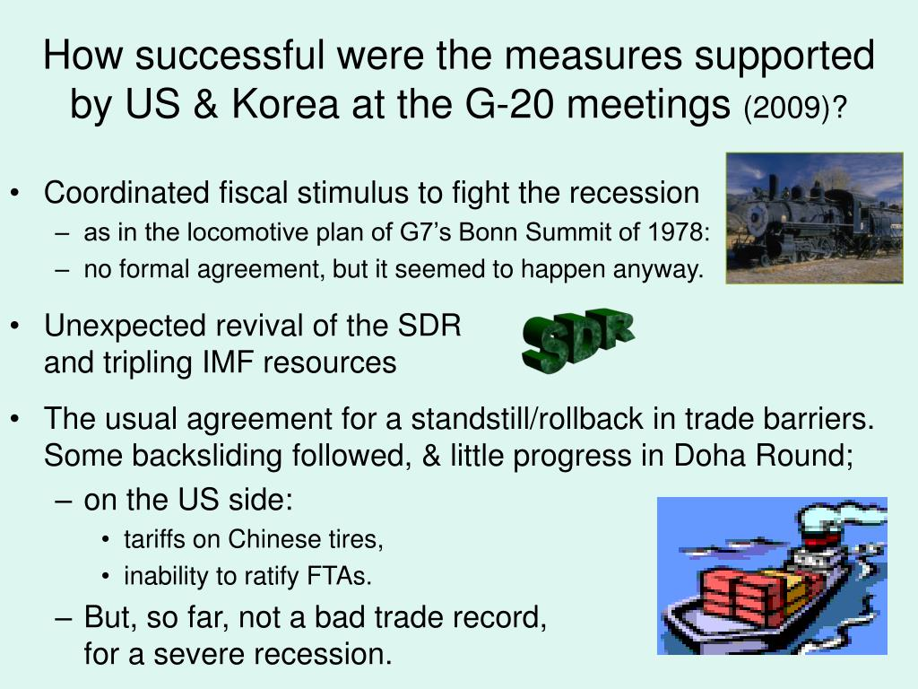 How successful were the measures supported by US & Korea at the G-20 meetings