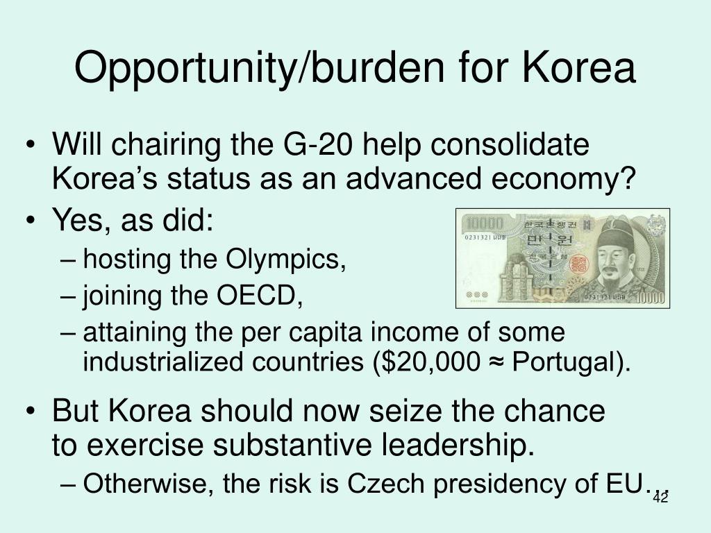 Opportunity/burden for Korea
