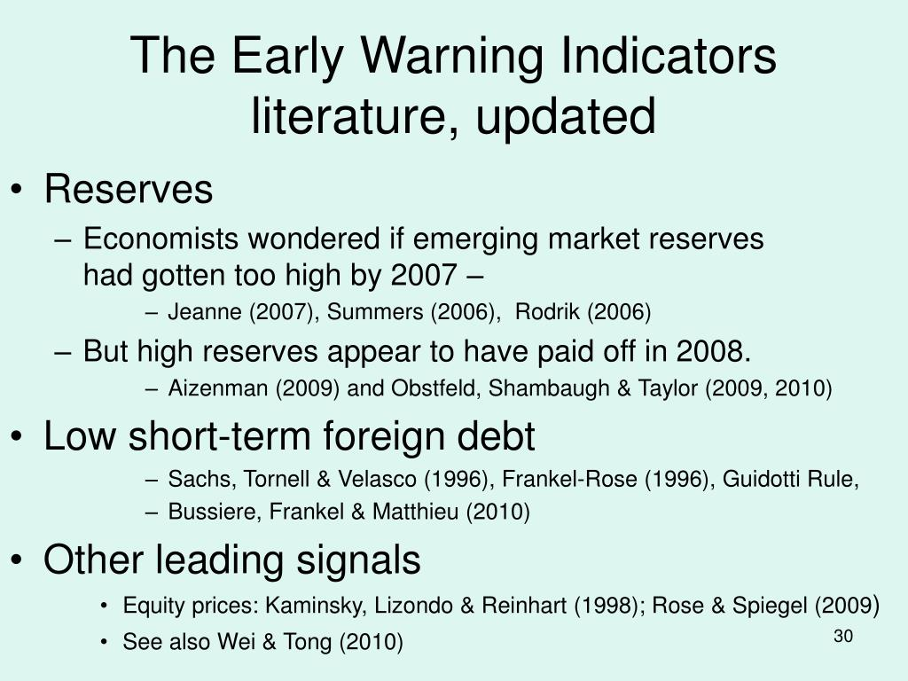 The Early Warning Indicators literature, updated