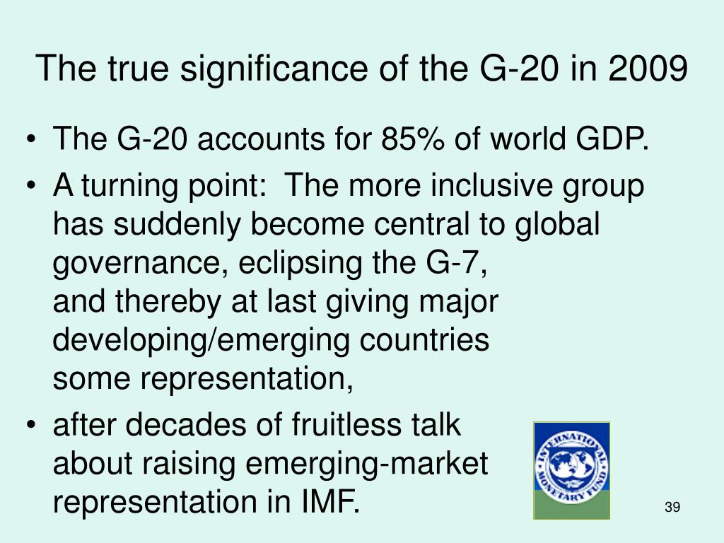 The true significance of the G-20 in 2009